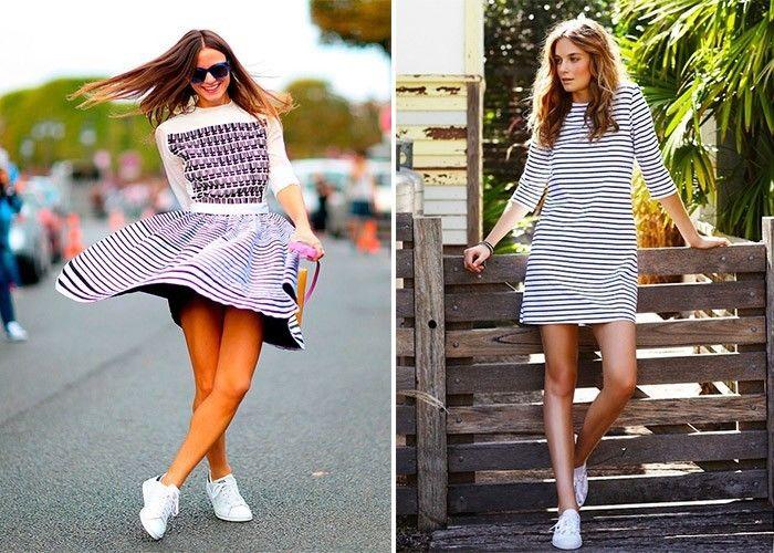 cbd1bad1701 Как носить кроссовки с платьем  Элегантное сочетание » EvaGirl.ru ...