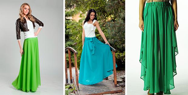 С чем носить длинную шифоновую юбку? Варианты от модельеров
