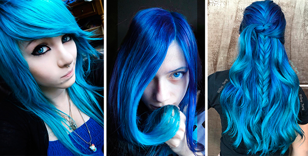 Волосы покрасить в синий цвет