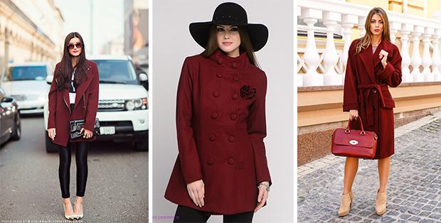 С чем носить бордовое пальто? Элегантный образ